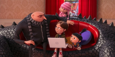 Gru, Margo, Agnes and Edith sat down