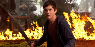 Percy Holding a Sword, Fire in Background