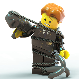 lego man wrapped up in rope