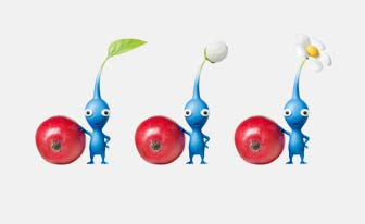 three little blue creatures with apples