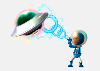 space man moving a ufo with a ray gun