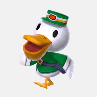 duck wearing a green costume