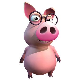 a pig wearing glasses
