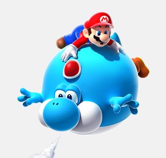 mario holding onto a blue yoshi