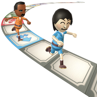 two men running around a board