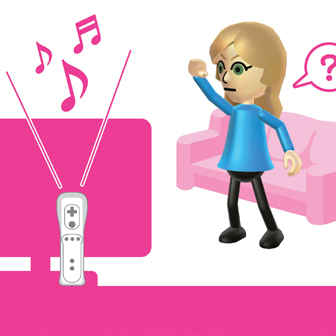 blonde woman playing wii party