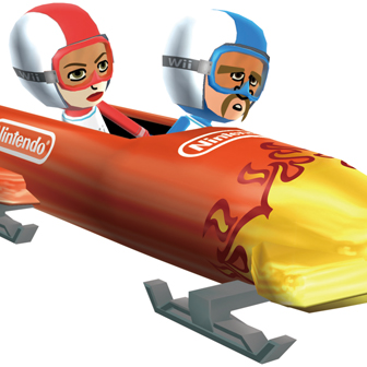 two people bob sledging