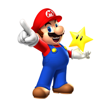 mario pointing holding star