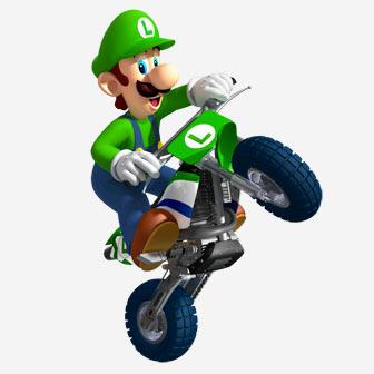 luigi riding a bike