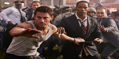 Channing Tatum and Jamie Foxx caught up in action