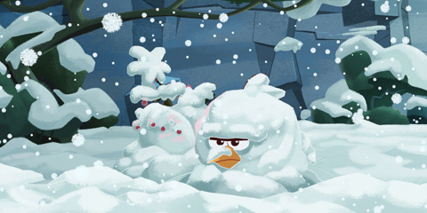 Angry Bird coverered in snow