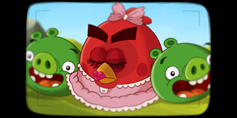 Angry Bird girl and piggies
