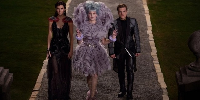 Katniss, Peeta and Effie Dressed Up