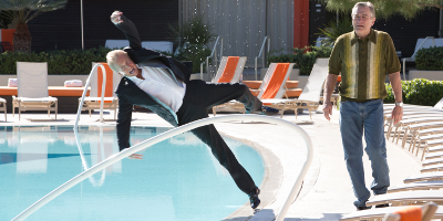 Billy Falling into the Pool Beside Paddy Walking