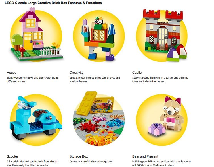 Features of the lego set