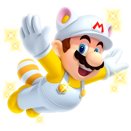 flying mario in a white mario costume