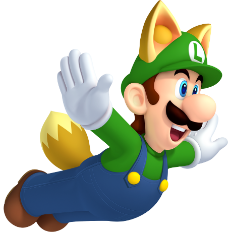 flying luigi in a fox costume