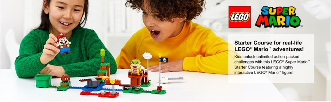 Two children playing with Mario Set