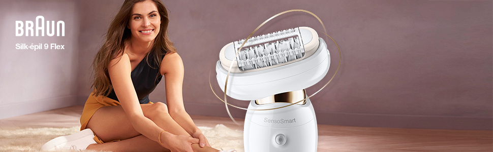 Silk-épil 9 Flex Epilator, Woman Shaving