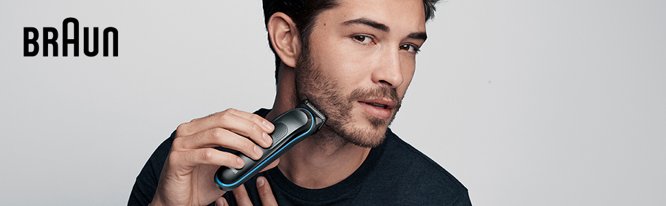 All-in-one Trimmer 5 Banner, Man Shaving
