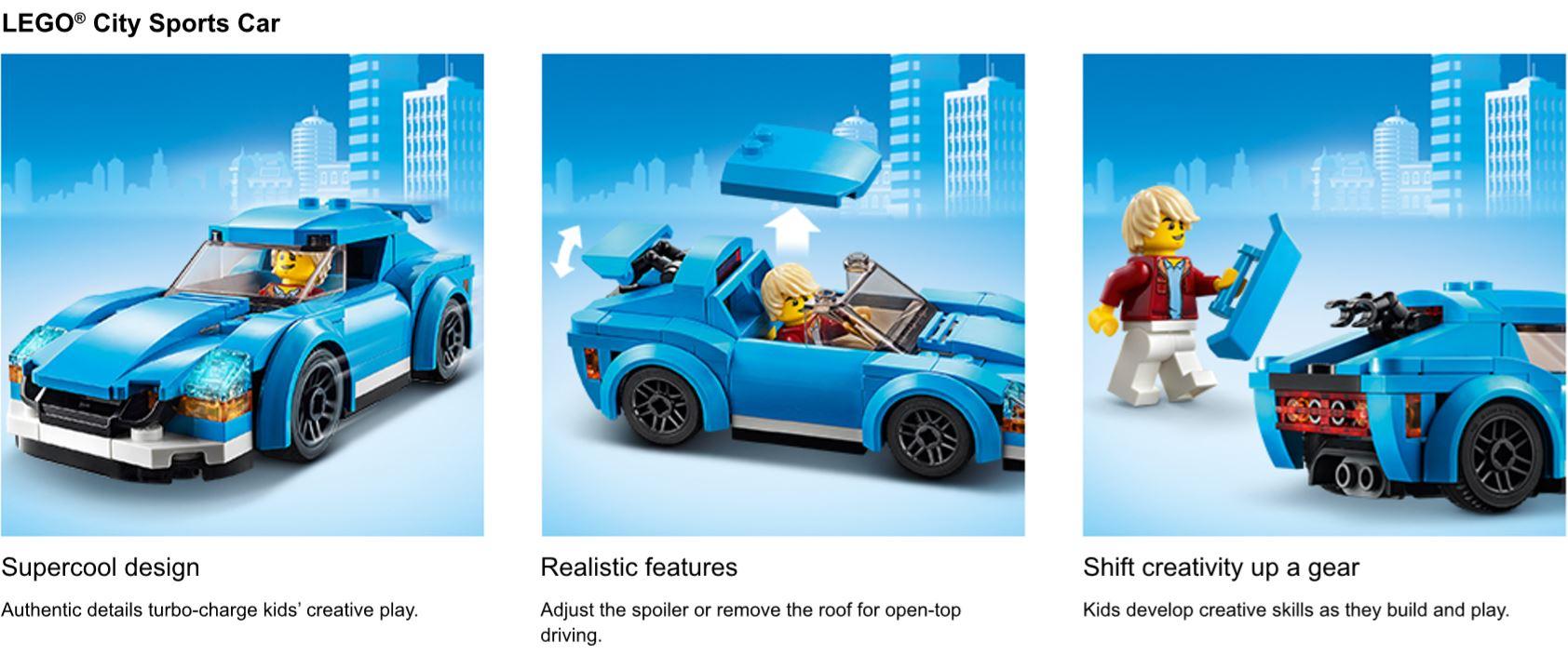 Minifigure avec voiture de sport