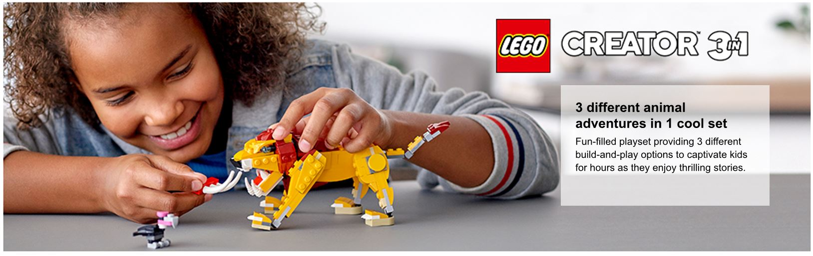 child playing with lion model