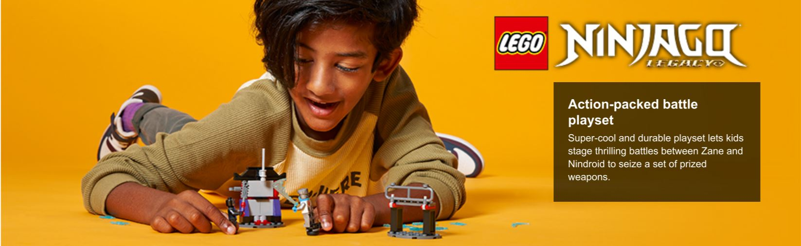 child playing with lego ninja figures