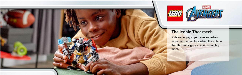 child holding lego thor