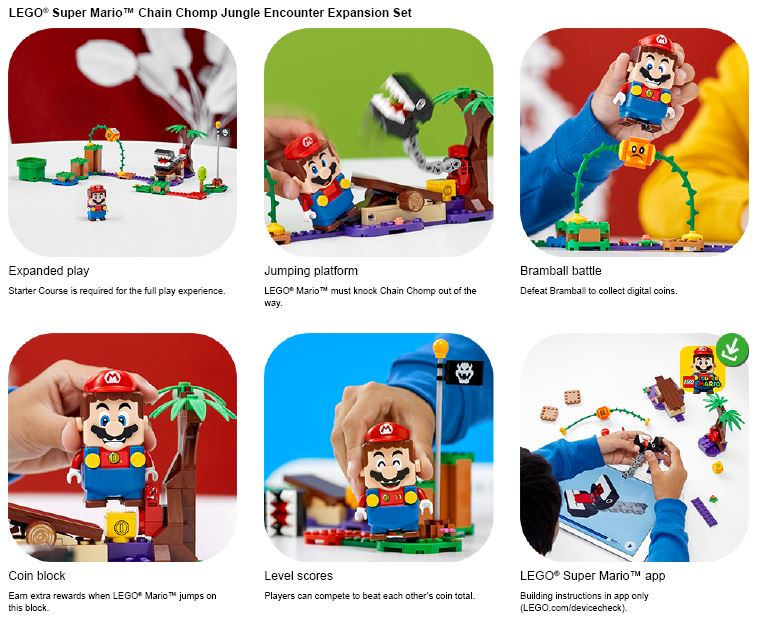 shows lego mario in different action poses
