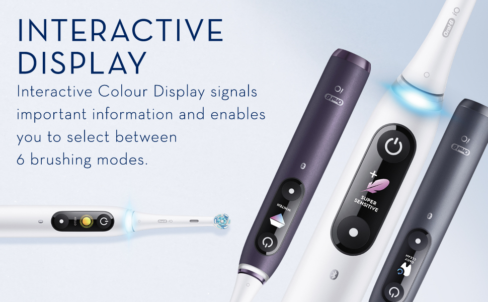 Interactive Black & White Display signals important information and enables you to select between 5 brushing modes.