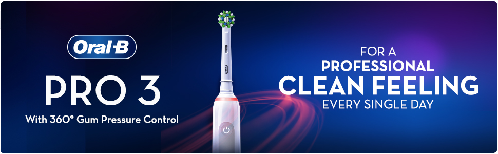 Oral B iO PRO 3 with 360 degree gum pressure control. For a professional clean feeling every single day