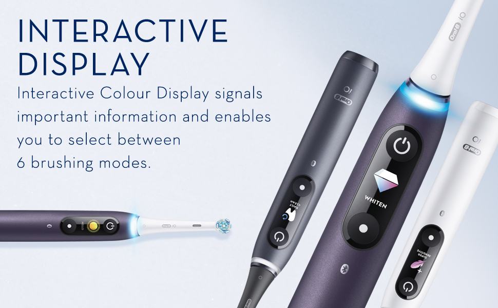 Interactive display. Interactive Black and White Display signals important information and enables you to select between 5 brushing modes.