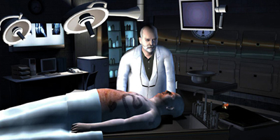 A doctor, stood over a dead body