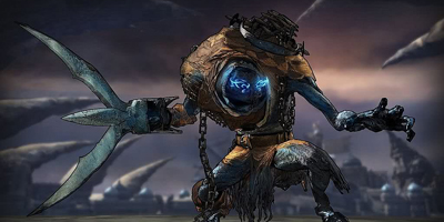 An oddly-shaped enemy with a large triple-blade-like hand