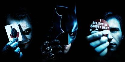 The Joker Holding A Joker Card, Batman Holding A Bat Blade And Harvey Dent Holding A Badge
