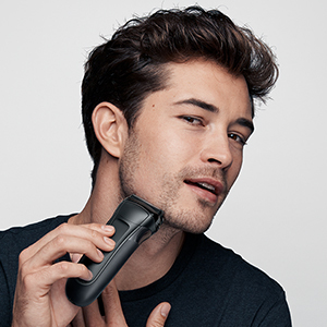 man with shaver