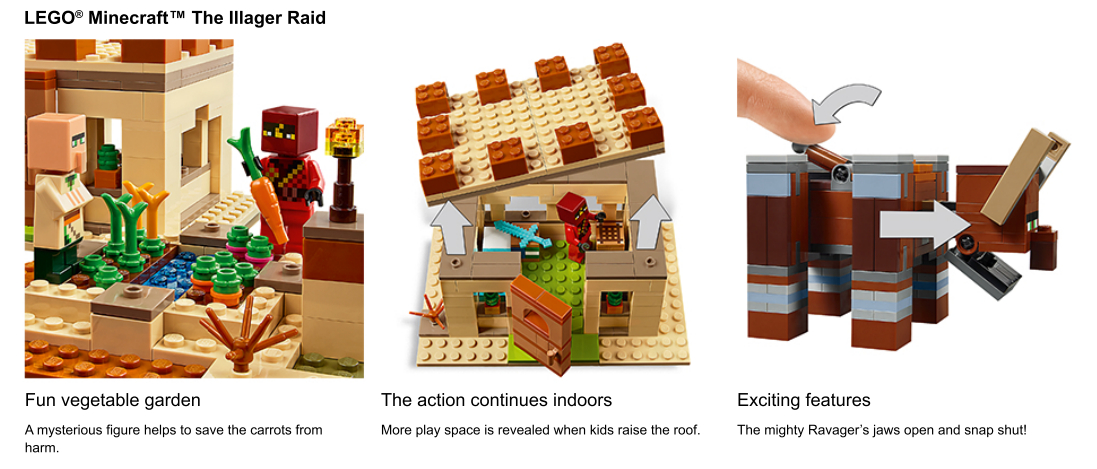 Close up shots of Minecraft LEGO set