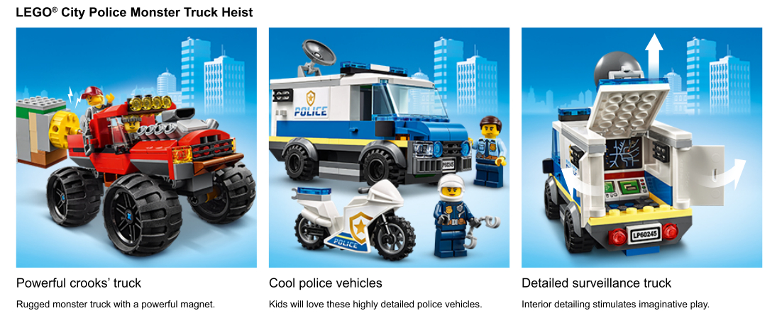 Action shots of Police Monster Truck Set
