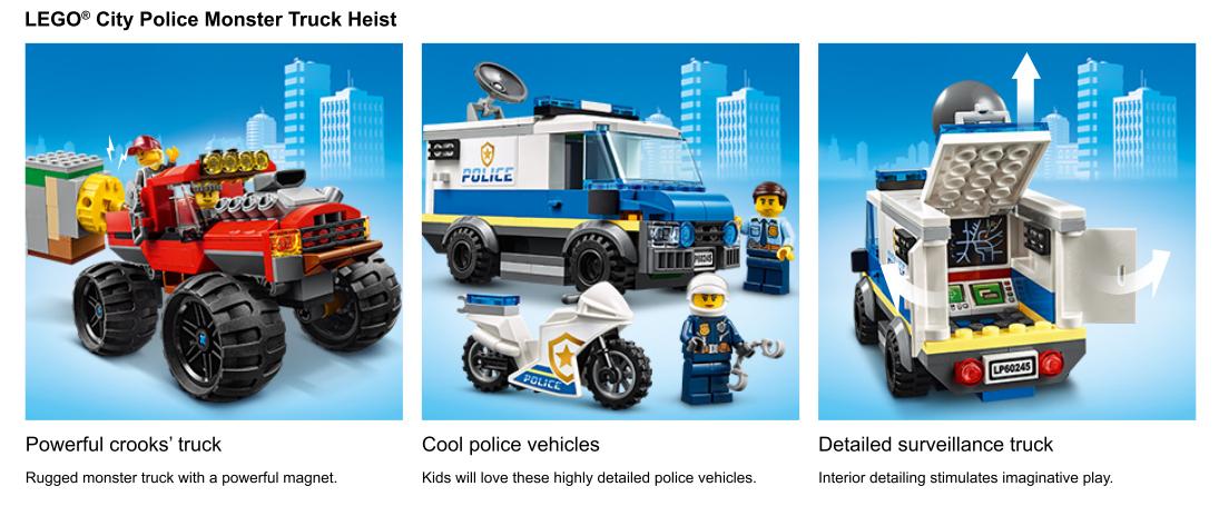 Photos d'action de l'ensemble Police Monster Truck