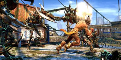 The player's character, fighting off a group of enemies