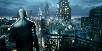 agent 47 looking over city