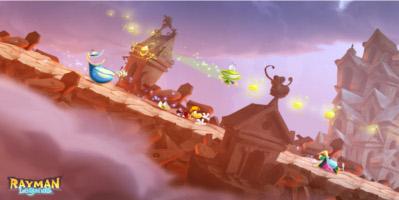 Rayman sliding down a hill