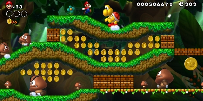 mario collecting loads of coins
