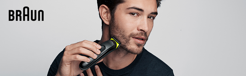 All-in-one Trimmer 3 Banner, Man Shaving