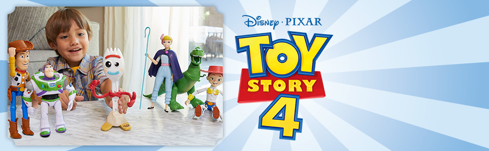 kids playing with toy story characters next to the toy story 4 logo