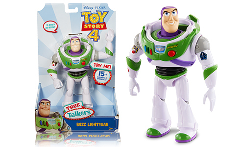 buzz figure next to the packaging
