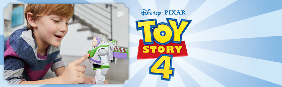 boy playing with buzz figure now pressing the action button next to toy story 4 logo