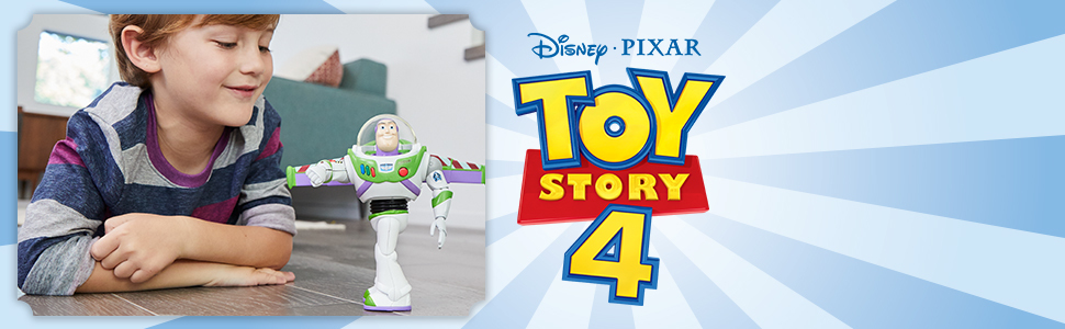 boy playing with buzz figure next to toy story 4 logo