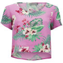 LOVE Women's Floral Crop T-Shirt - Pink