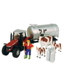 Massey Ferguson Tractor & Trailer Playset with Cows